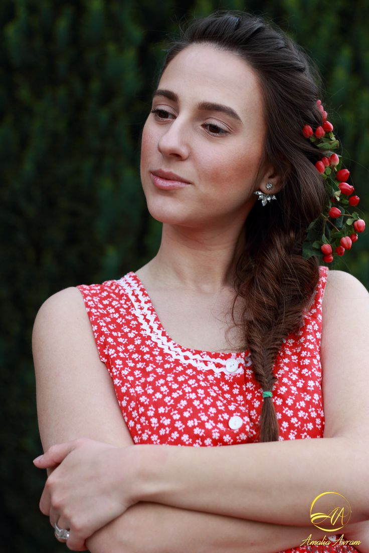 Natural makeup look, dream girl, be different. Red dress. Country girl. Braided hair