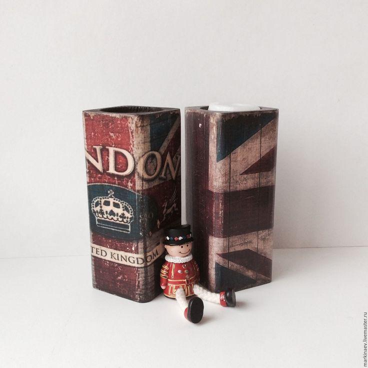 Купить Подсвечники деревянные, английския стиль, флаг, Лондон - деревянные подсвечники, подсвечник из дерева