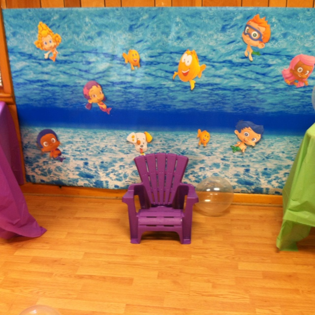 Bubble Guppies Backdrop Maybe For The Backyard Opening Gift Chair Area Find This Pin And More On Kid Party Ideas