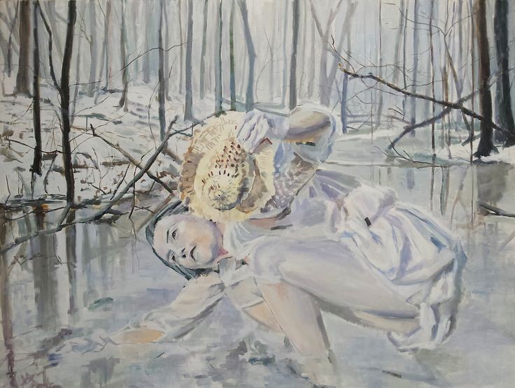 Winter, dream in original painting 'River', oil on canvas