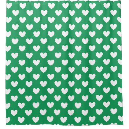 White Polka Hearts On Kelly Green Shower Curtain
