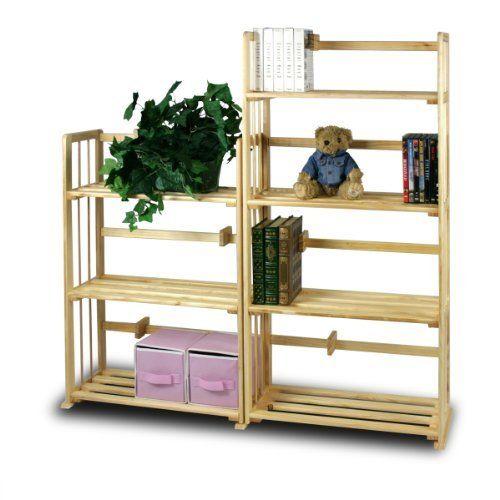 FURINNO PiNE Solid Wood 4-Tier & 3-Tier Bookshelves Set