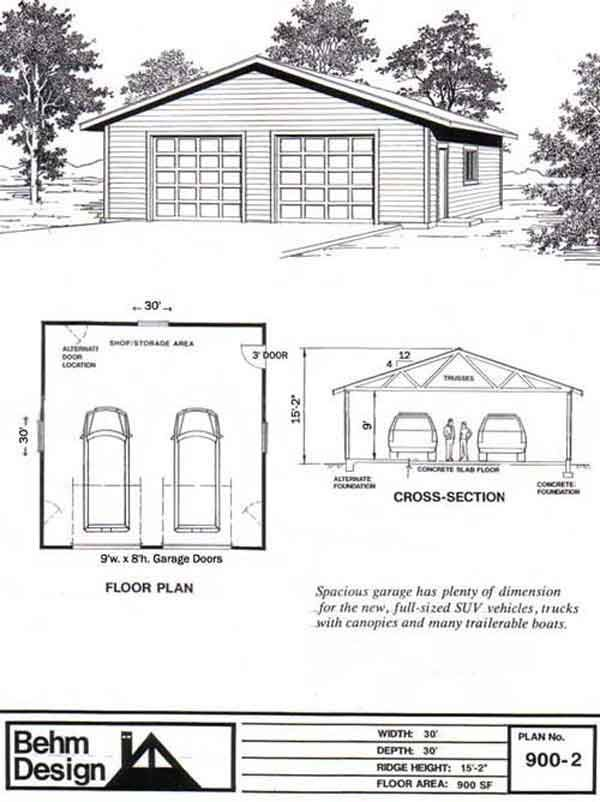 2 car garage plan with one story 900 2 30 39 x 30 39 by behm for 1 5 car garage plans
