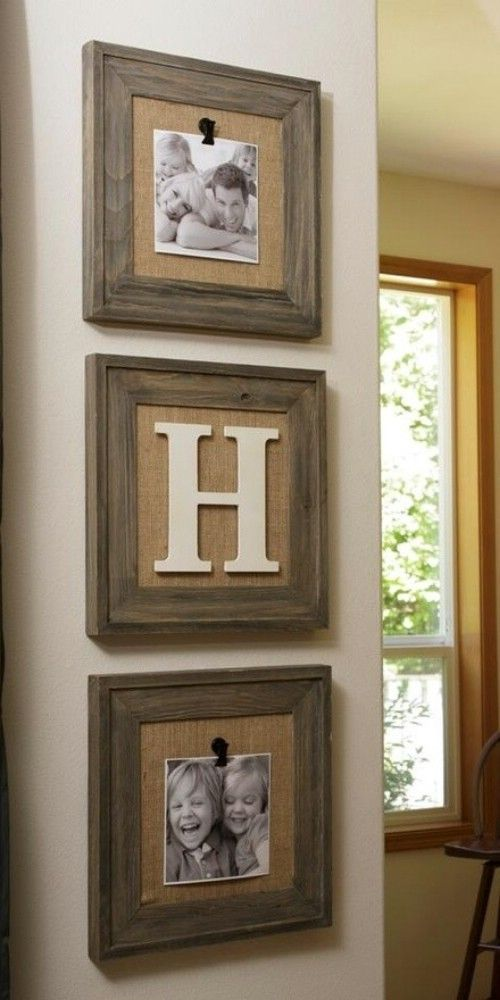 Rustic photo frames, burlap, family name, letter decor, last name first letter, farmhouse, home decor, diy home decor, living room, dining room, living room, kitchen, family room, bedroom, entryway, hallway, photo, wall decor, home, family pictures, wood