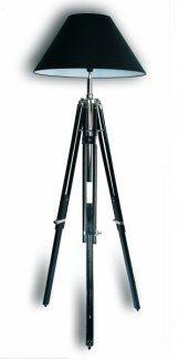 Teleskop golvlampa  - Svart fot med svart skärm
