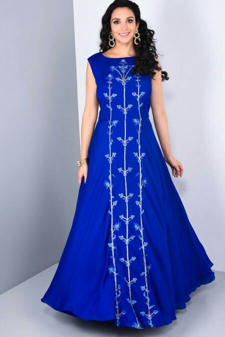 ZAYAH - navy blue gown with floral embroidery