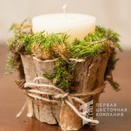 Новогодняя свечка, декорированная мхом «Эстель»