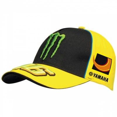 Official VR46 Valentino Rossi Merchandise for the 2013 Moto GP season.  Show your support for Valentino Rossi during this year with this 2013 Yamaha Monster cap.  This official Valentino Rossi cap boasts the Monster Sponsor logo across the front, the Yamaha team sun and moon logos at each side and embossed 46 logo in Yellow on the peak of the cap.  One size fits all.