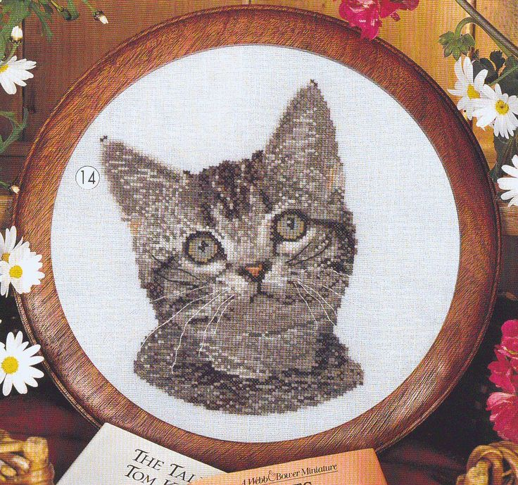 1 of 1 head of cute kitten finished cross stitch