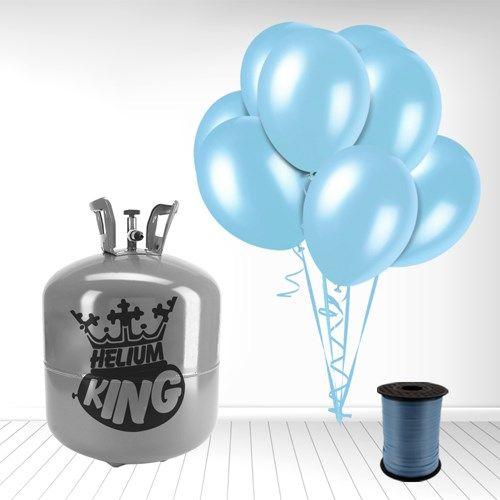 Pakke med 1 Stor Helium Gas Cylinder og 50 Lyseblå Latex Balloner og Bånd