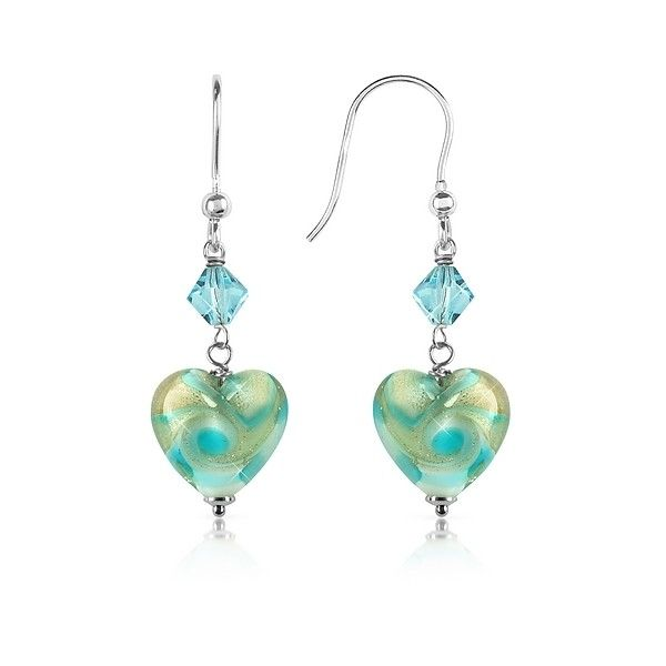 House of Murano Designer Earrings Vortice - Turquoise Swirling Murano... (£61) ❤ liked on Polyvore featuring jewelry, earrings, turquoise, heart earrings, turquoise heart jewelry, turquoise heart earrings, heart dangle earrings and heart jewelry