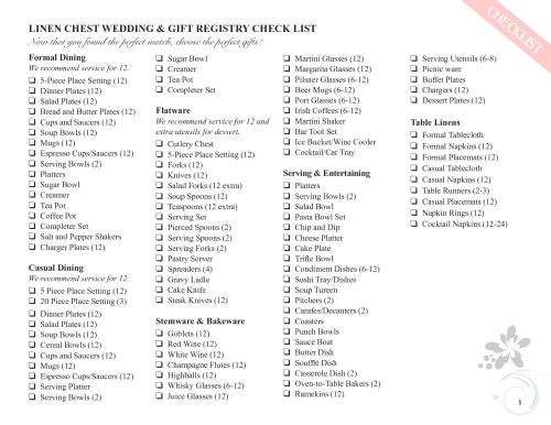Wedding Gift Checklist : wedding gift registry wedding registries wedding registry checklist ...