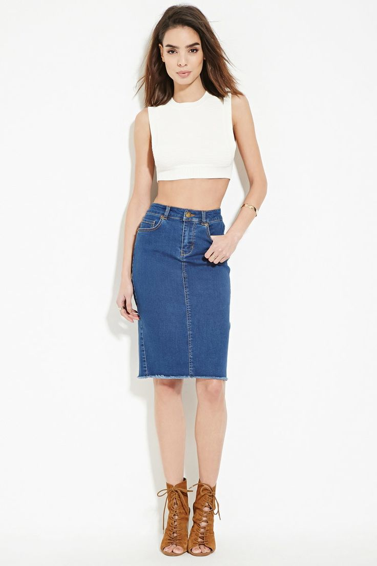 Forever 21 Contemporary - A Life In Progress™ denim pencil skirt complete  with a frayed · Denim Pencil SkirtDenim SkirtsKnee Length ...