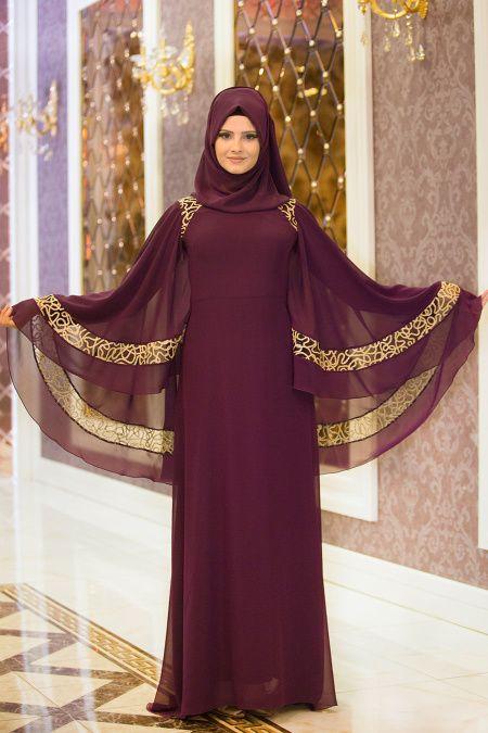 NEVA STYLE - Neva Style - Omuzları Dantel Detaylı Mürdüm Tesettür Abiye Elbise 52596MU