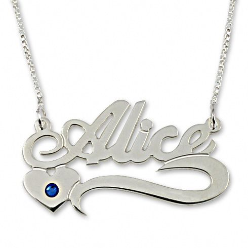 13020 - Sterling Silver Underlined Name Necklace with Heart and Swarovski - $35.40