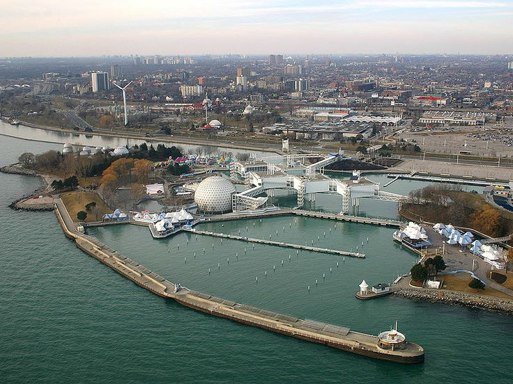 Ontario Place -- view from air off the Lake Ontario.