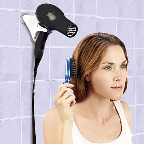 wall-mounted hair dryer holder...great idea!!
