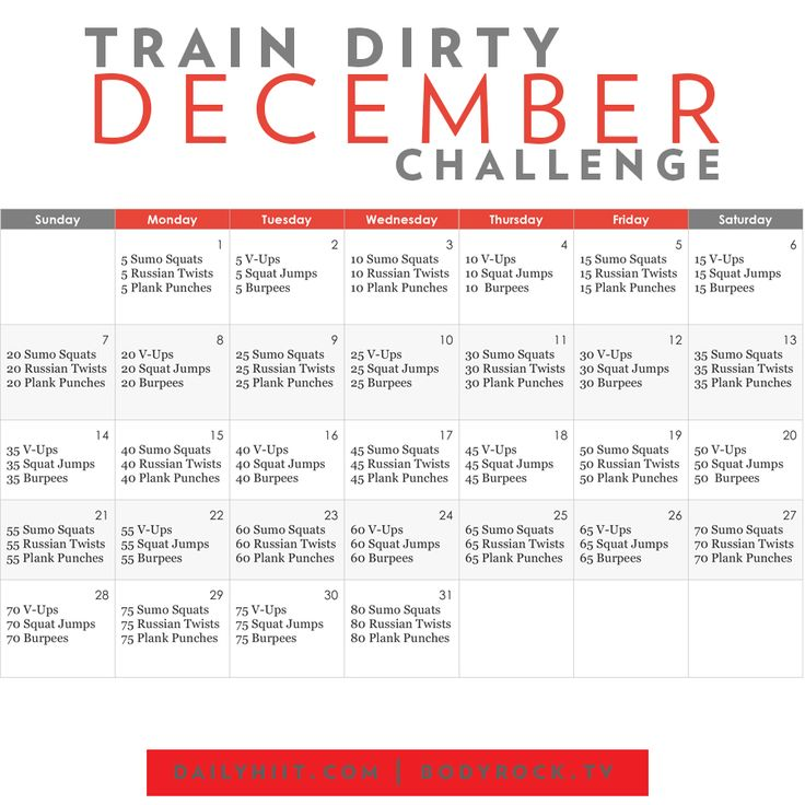 Put down the forks and get dirty for the month of December! Here is a month long holiday challenge to keep you ahead of the game and accountable all throug