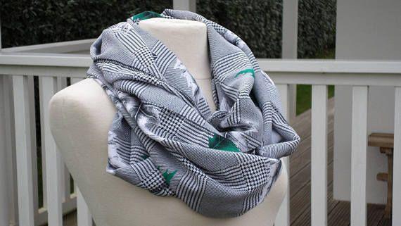 Etole écharpe imprimé vert et gris femme créateur lin'eva