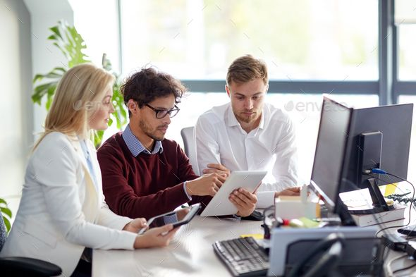 Business Team With Tablet Pc At Office Online Learning Technology Photos Elearning Industry