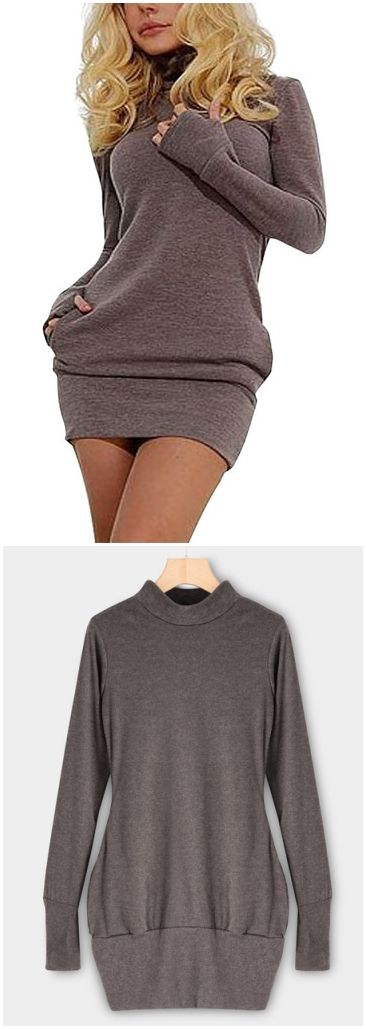 Light Coffee Roll Neck Casual Dress with Two Side Pockets US$14.95
