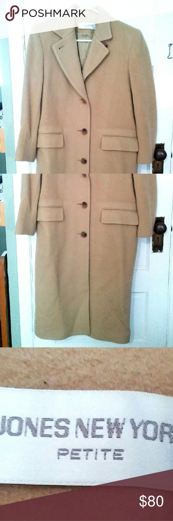 Jones New York Petite Trench Coat Nice long and neutral color to this coat. It is made with a fluffy type of fur on the outside. Jones New York Jackets & Coats Trench Coats