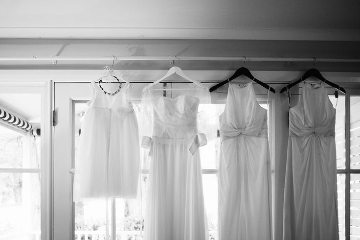 Monochrome // Bridal party dresses hanging #bridal #gown #bridesmaid #dress #flowergirl