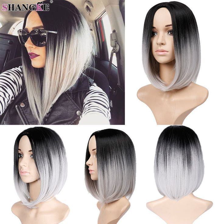 Short Ombre Bob Wig Natural Black Gray Bob Wig Cosplay Cheap Grey Wigs For Women Synthetic Short Wigs For Black Women Hairstyles