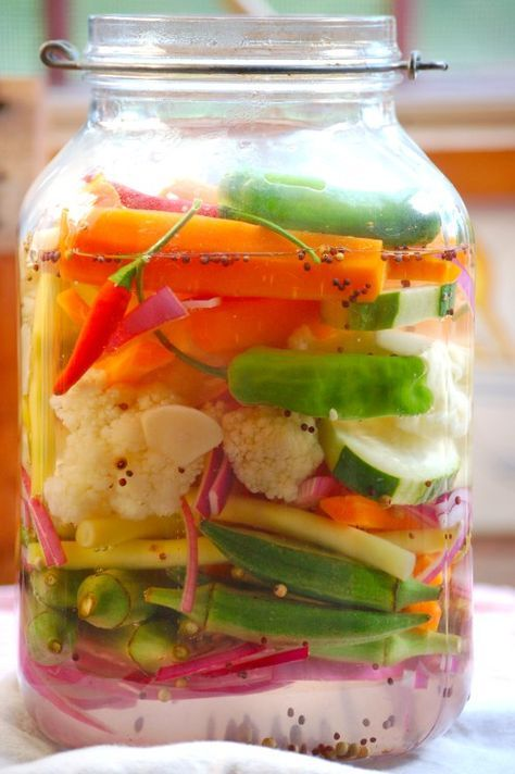 PICKLED VEGETABLES ~ This recipe produces refrigerator pickled peppers and onions – they aren't shelf stable and must be stored under refrigeration. This is not a canning recipe.