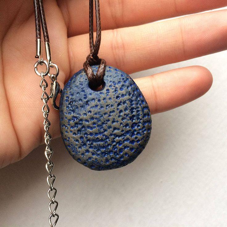 Original CONCRETE beautifull necklace jewelry justStone blue minimalist industrial pendant handmade by Aludana, urban style, Charm jewelry by ConcreteByAludana on Etsy