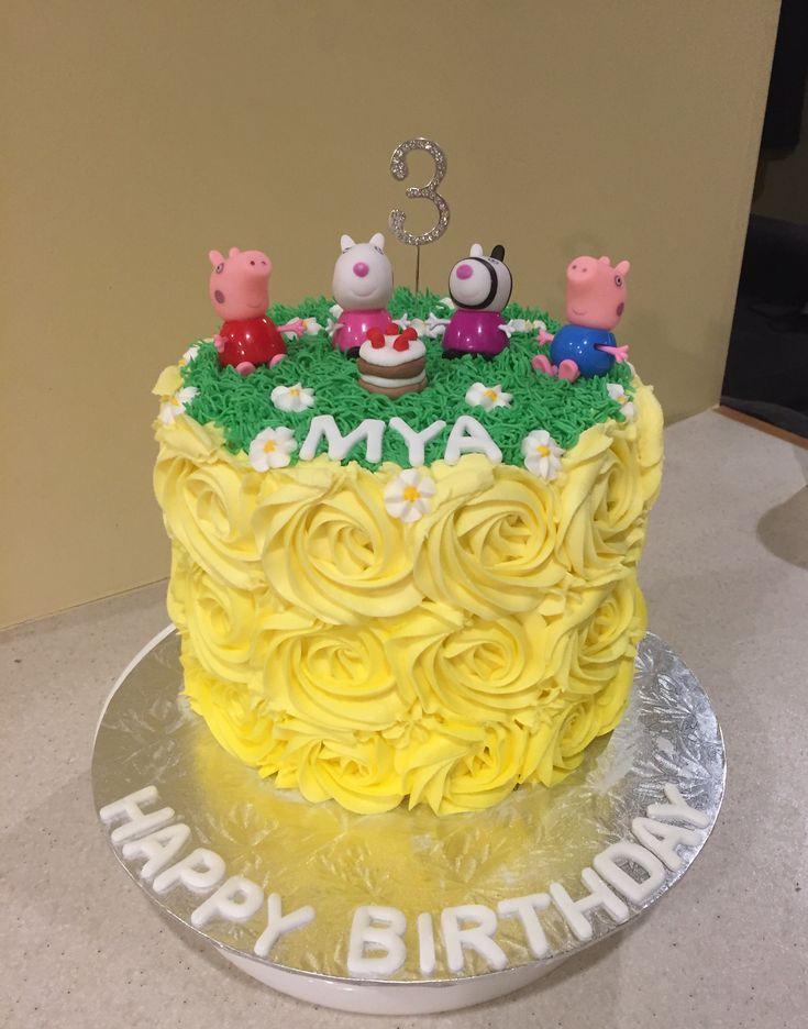 Peppa pig picnic birthday cake yellow