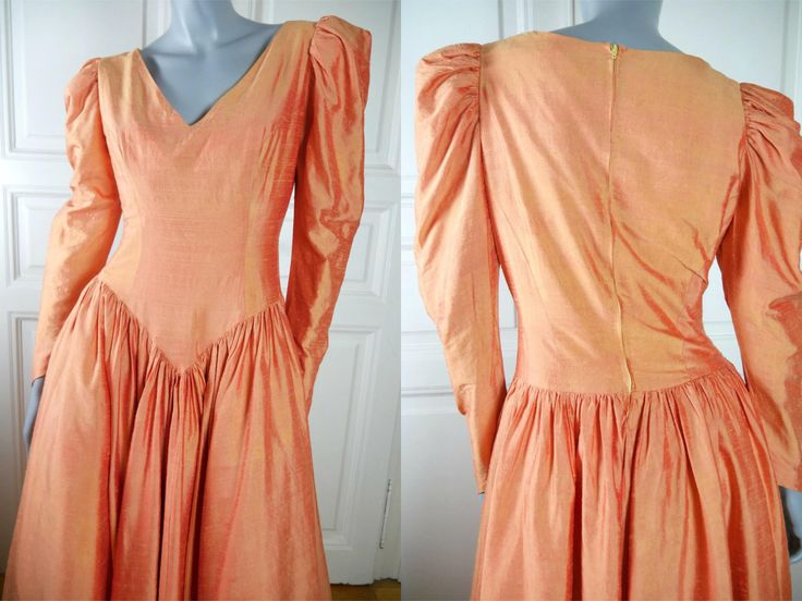 Dutch Vintage Silk Evening Gown, Peach Colored Light Orange Long Evening Dress, European Elegant Mother of the Bride: Size 12 US, 16 UK by YouLookAmazing on Etsy
