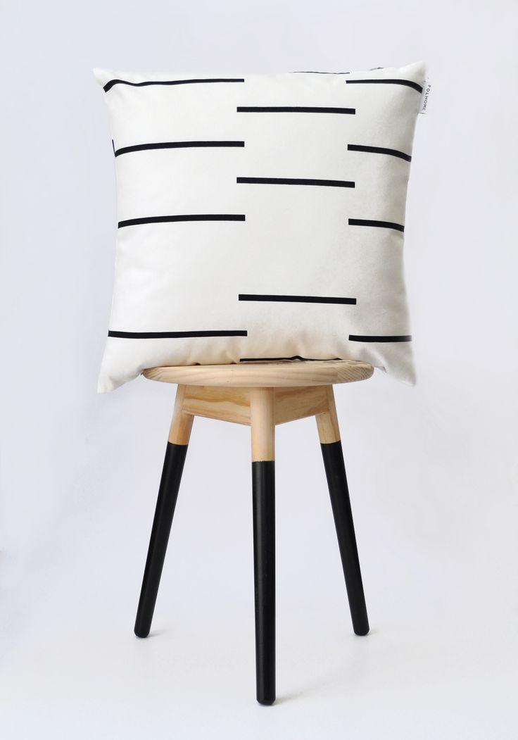 Monochrome broken stripe cushion