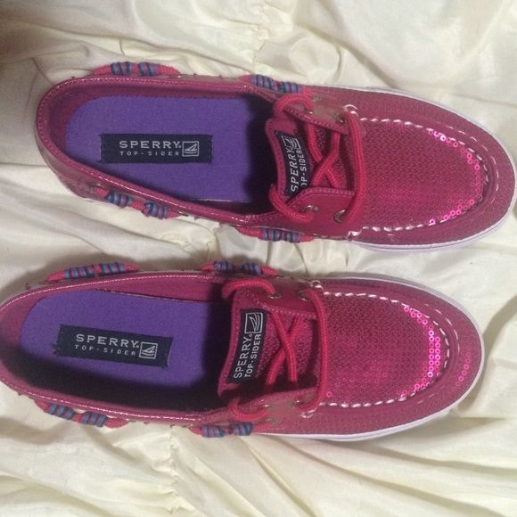 Hot Pink Sperry's Hot Pink Sequined Sperrys! Worn once and are still like new! Sperry Top-Sider Shoes