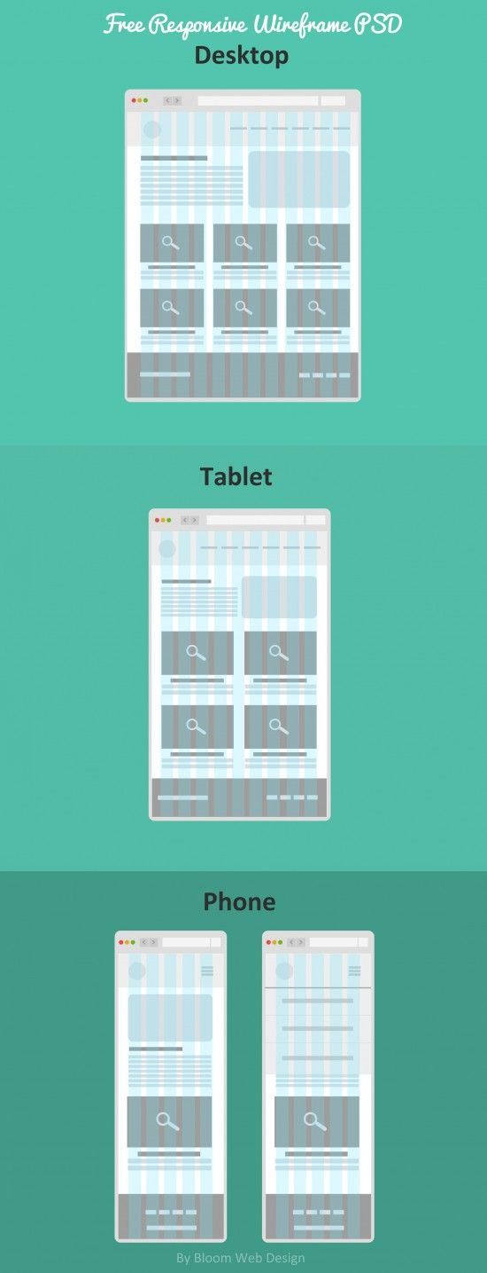 Flat Free Responsive Wireframe (PSD File) - Bloom Web Design: http://bloomwebdesign.net/2013/11/free-responsive-wireframe/