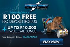 #ThunderboltOnlineCasino  Thunderbolt Casino has a free R100 bonus with no deposit just waiting to be claimed, as well as a huge welcome bonus of R10 000 when you make a deposit.  http://www.onlinecasinobonus.co.za/thunderbolt-online-casino-review.html
