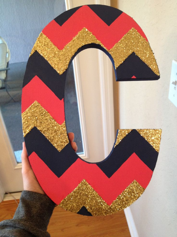 DIY chevron letter initials // pink and navy and gold // giltter and mod podge // dorm decoration wall art