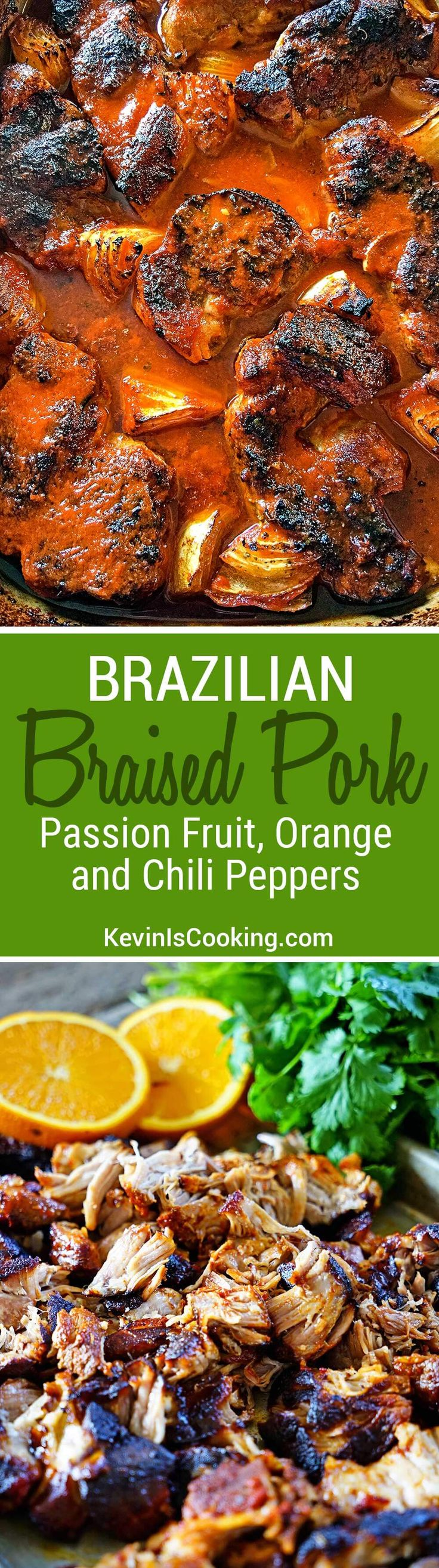 This Brazilian Braised Pork in Passion Fruit, Orange and Guajillo Peppers is off the hook tasty! A family favorite I use in tacos, sandwiches and quesadillas.