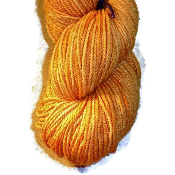 Mango Superwash Merino Yarn - Hand Dyed Yarn - DK Weight Merino Yarn - Orange Double Knit 3 Ply Yarn - Hand Dyed DK Weight Yarn
