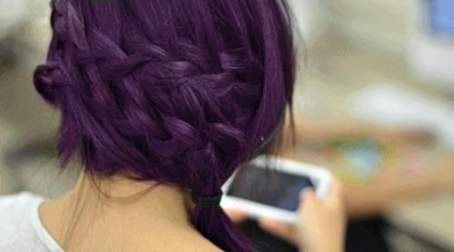 dark purple hair: Hair Ideas, Purple Hair, Hairstyles, Hair Styles, Makeup, Braids, Beauty, Hair Color