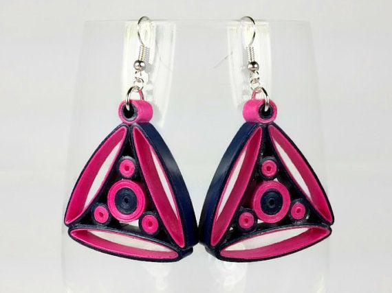 Fuchsia Navy Earrings Quilled Earrings by SweetheartsandCrafts