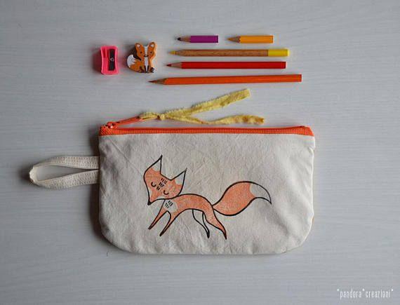 * Cotton zipper pouch with FOX * pandora creazioni