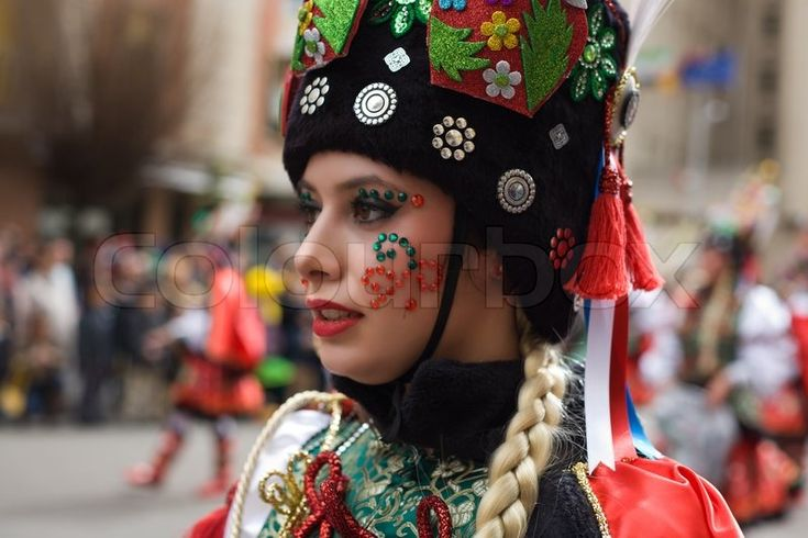 BADAJOZ, SPAIN, MARCH 2: Performers dressed up with russian folk costumes take part in the Carnival parade of comparsas at Badajoz City, on March 2, 2014. This is one of the best carnivals in Spain, renown by all the national news media and especially highlighting massive participation of people | Stock Photo | Colourbox on Colourbox