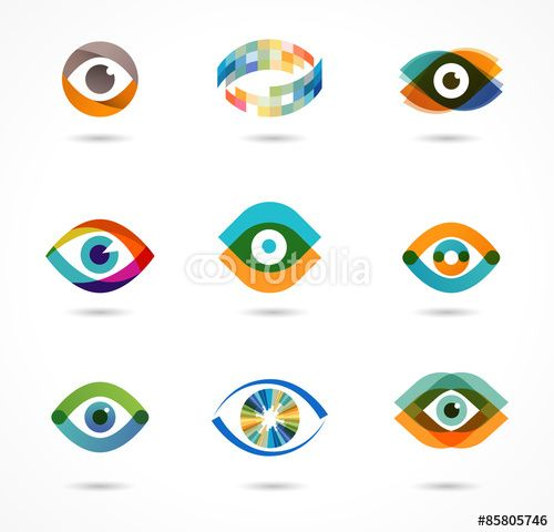 Vector: Set of colorful eye icons