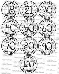 10 SPECIAL AGE birthday digi stamp set  Circle sentiment stamps  fun font  18th  21st  30th  40th  50th  60th  70th  80th  90th  100th  on Craftsuprint - View Now!