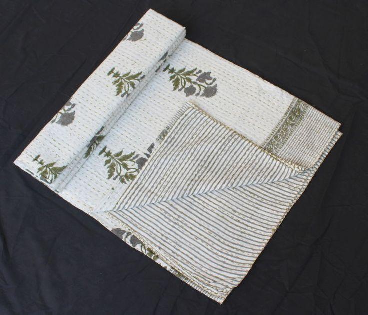 Kantha Cotton Bed Sheet Throw Handmade Handblock Print Bedspread Bed Cover #Handmade #ArtsCraftsMissionStyle