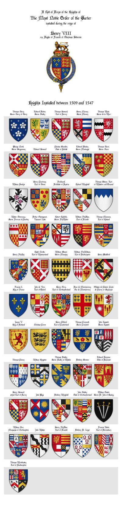 Roll of Arms - Knights of the Garter Installed during the Reign of King Henry VIII Art Print