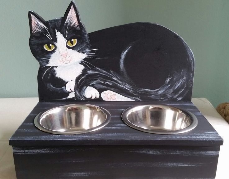 Cat Food Water Bowl Holder ~Tuxedo Cat ~Handmade and Painted Wood Art ~Stainless Bowls Included ~Double Bowl Feeding Stand by kittycatstudio on Etsy