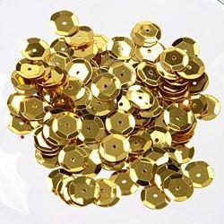 Pose med 500 stk skinnende guld pailletter på 6mm fra Sjovogkreativ.dk til din hobby og dekoration.