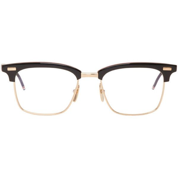 Thom Browne Black and Gold TB-711 Glasses (1,025 CAD) ❤ liked on Polyvore featuring men's fashion, men's accessories, men's eyewear, men's eyeglasses, black and thom browne